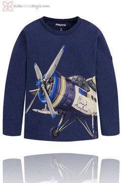 Boys Airplane Graphic Long Sleeve T-Shirt in Navy