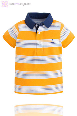Boys Polo with Yellow & Navy Stripes