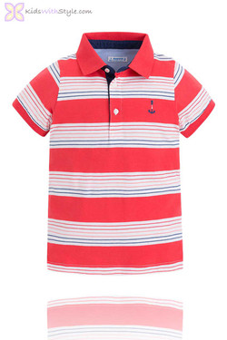 Boys Polo with Red & Navy Stripes