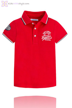 "Boys ""Aloha"" Long Beach Polo in Red"