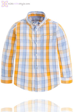 Boys Checkered Yellow Long Sleeve Shirt