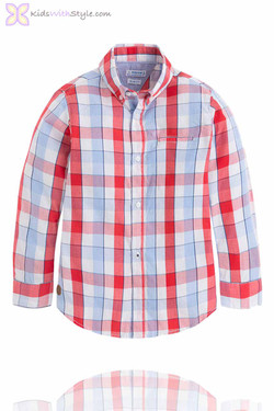 Boys Checkered Red Long Sleeve Shirt