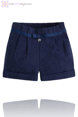 Girls Luxury Jacquard Shorts in Navy