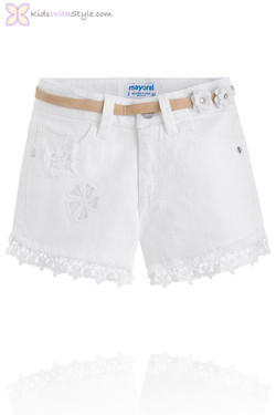 Girls Daisy Lace Trim Shorts with Belt