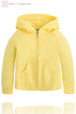 Girls Diamante Hooded Jacket in Yellow