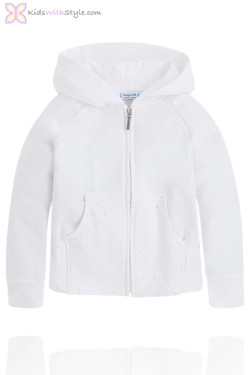 Girls Diamante Hooded Jacket in White
