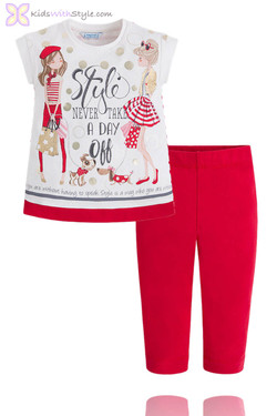 """Girls Leggings  & Blouse Set """"Style Never Takes A Day Off"""" in Red"""