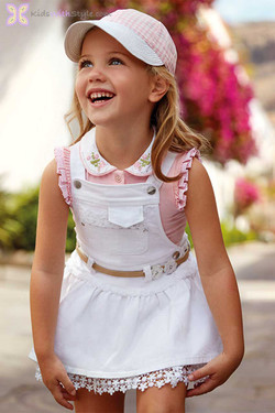 Girls Luxury White Lace Skirt Overalls