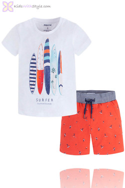 Boys Bermuda Shorts & Printed Surf Top Set