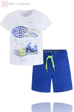 Boys Blue Bermuda & Sports Printed Top Set