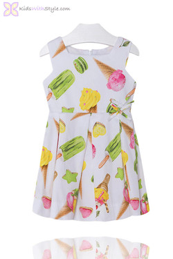 Girls White Ice Cream Print Summer Dress