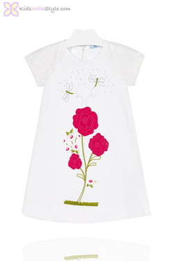 Girls White Dress with Embroidered Fuchsia Rose