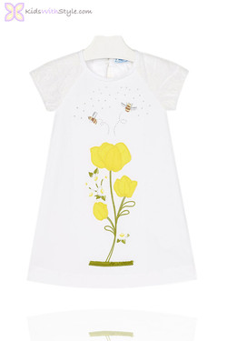 Girls White Dress with Embroidered Buttercup Flower