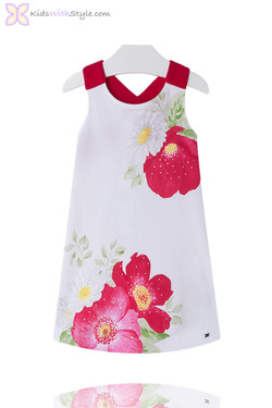 Girls Floral Poppy Sun Dress in Red
