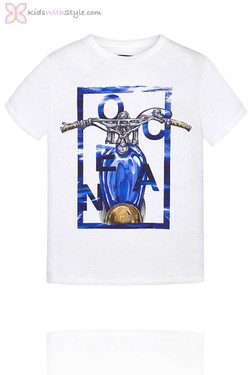 Boys Graphic Motorbike T.Shirt in White