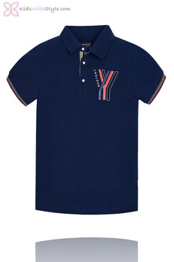 Boys Graphic Global Master Polo in Navy