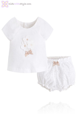 Baby Girl Embroidered Floral Blouse & Bloomer Set