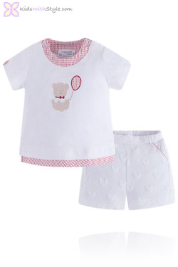 Baby Girl Luxury White Teddy Blouse and Shorts Set
