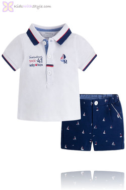 Baby Boy Navy & White Sail Boat Polo and Shorts Set