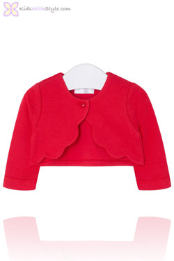 Baby Girl Red Bolero Cardigan  with Scallop Trim