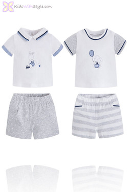 Baby Boy 4 Piece Gray Bunny Polo and Shorts Set