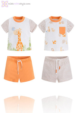 Baby Boy 4 Piece Giraffe T.Shirt and Shorts Sets