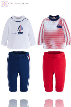 Baby Boy 4 Piece Sailboat Long Sleeve Shirt and Jogger Pants Set