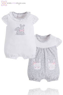 Baby Girl 2 Piece Set Of Short Onesie Rompers