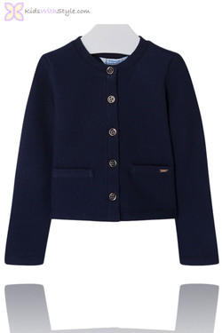 Girls Classic Navy Knitted Cardigan