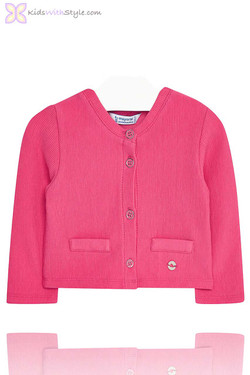 Baby Girls Fuchsia Knitted Cardigan