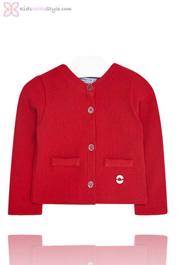 Baby Girls Red Knitted Cardigan Jacket