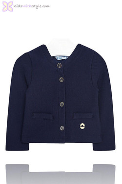 Baby Girls Navy Knitted Jacket