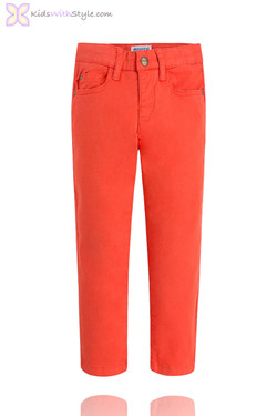 Boys Red Twill Chino Pants