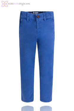 Boys Blue Straight Leg Twill Pants