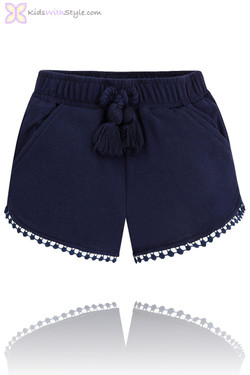 Girls Navy Fleece Summer Shorts