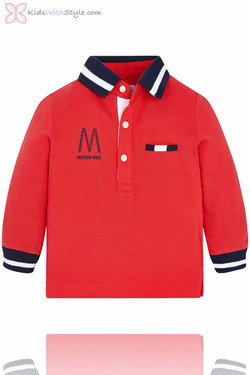 Baby Boy Long Sleeve Luxury Polo in Red