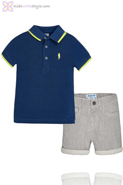 Baby Boy Shorts & Polo Set in Blue