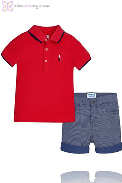 Baby Boy Shorts & Polo Set in Red