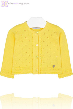 Baby Girl Knitted Cardigan in Yellow
