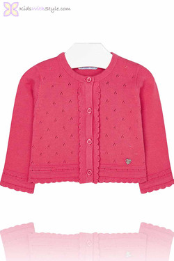 Baby Girl Knitted Cardigan in Deep Pink