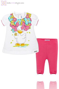 Baby Girl Bow Leggings & Duck Print Pink Blouse Set
