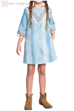 Light Denim Tassel Dress