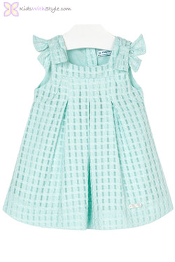 Baby Girl Aqua Pleated Dress with Bows