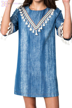 Blue Denim Tassel Dress
