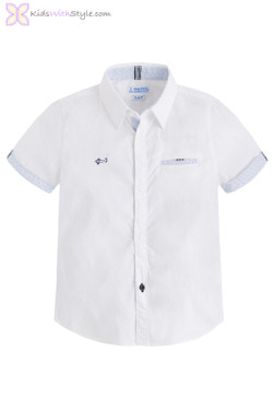 Boys Short Sleeved Button Down Shirt in White