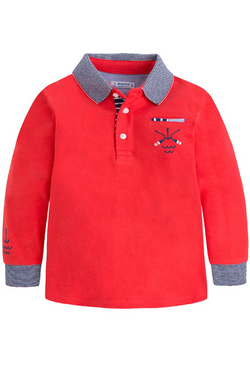 Boys Nautical long sleeved Polo Shirt in Red