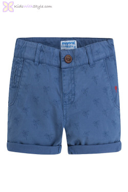 Boys Palm Tree Patterned Twill Shorts in Blue