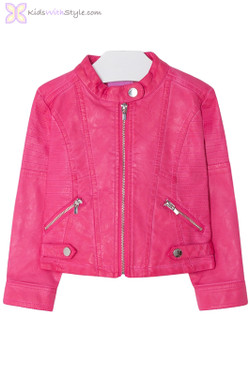 Girls Leatherette Styled Jacket in Pink