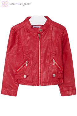 Girls Leatherette Styled Jacket in Red