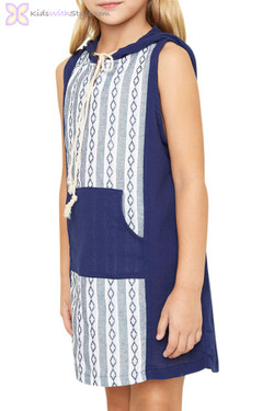 Blue Hooded Sleeveless Dress